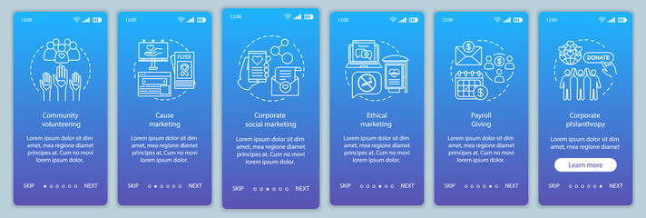 Corporate governance onboarding mobile app page screen vector template