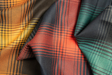 Colorful plaid fabric samples texture for the background