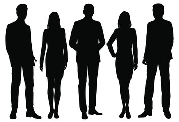 Vector silhouettes men and women standing, business,  people, group,  black color, isolated on white background Wall mural