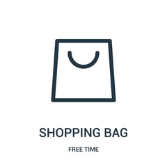 shopping bag icon vector from free time collection. Thin line shopping bag outline icon vector illustration. Linear symbol for use on web and mobile apps, logo, print media.