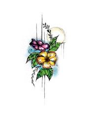 Watercolor flower design, Women's Tattoo, Flower Tattoo, Flower Design, Flower Illustration, Flower Drawing, Hand drawn sketch, pen and ink flower artwork, flower drawing in pen, bouquet art, Spring