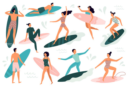Surfing people. Surfer standing on surf board, surfers on beach and summer wave riders surfboards vector illustration set
