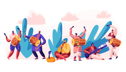 Festival in India. Celebrate Day in Country. Character Play Classical Traditional Music on Dotara, Chitravina and Drummer on Mridangam. Snake Charmer Playing Pungi. Flat Cartoon Vector Illustration