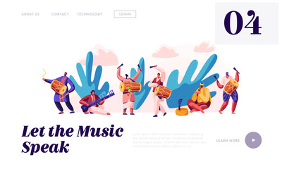 Music Festival in India Landing Page. Musician Playing Musical Instrument Dhol, Drum, Flute and Sitar at National Instrumental Ceremony in Asia Website or Web Page. Flat Cartoon Vector Illustration