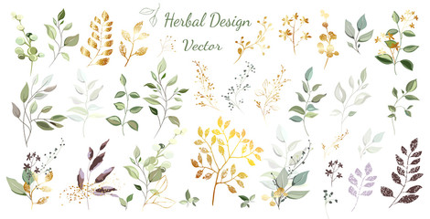 Green leaves with gold. Large set: bouquets, arrangement of leaves and gold elements, twigs, decorative herbs. Vector design. Wall mural