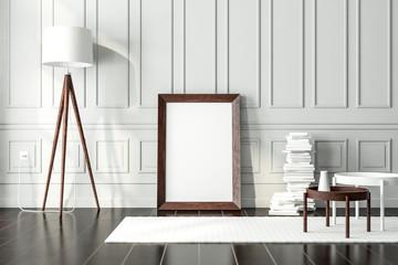 Dark vintage Wooden poster Frame Mockup standing on the floor in modern interior, 3d rendering