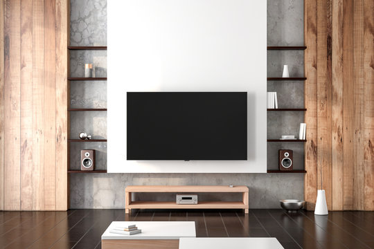 Smart Tv Mockup hanging on the wall in living room with shelves