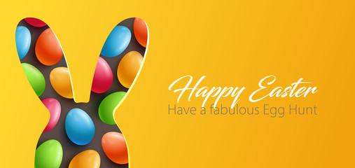Paper Cut Easter background with colorful eggs