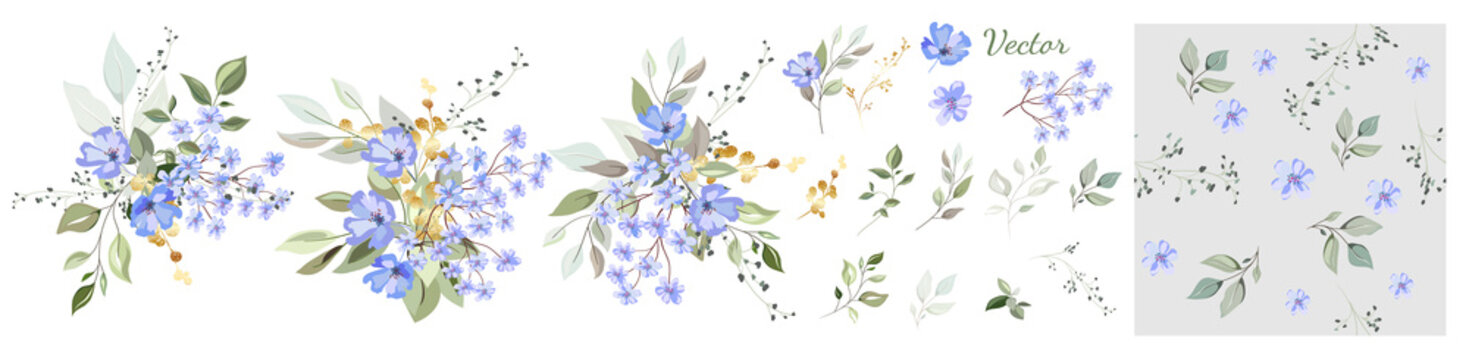 Collection. The composition of blue flowers, decorative leaves and gold elements. Set: leaves, twigs, herbs, gold, floral arrangements, seamless background. Vector design.