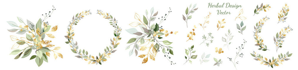 Set. Arrangement of decorative leaves and gold elements. Collection: leaves, twigs, herbs, leaf compositions, gold, wreath. Vector design. Fototapete
