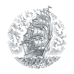 Engraving style line illustration of sailing ship. Vector. (Sky on separate layer).