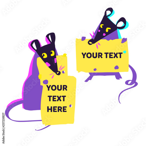 Mouse Happy New Year 2020 template badge, insignia  Mouse, Rat