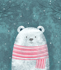 Cute polar bear. Winter greeting card