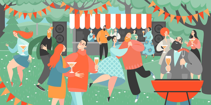 Garden party with people dancing and drinking wine. Cartoon characters having fun at a barbecue party