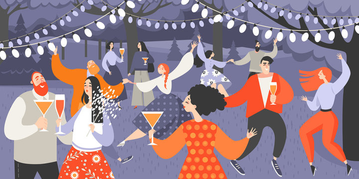 Retro garden party with people dancing and drinking wine. Cartoon characters having fun in the park at night.