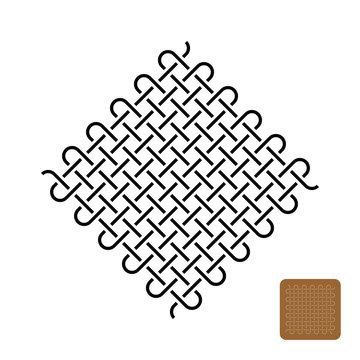 Knots weave symbol illustration. Woven tight lines symbol.