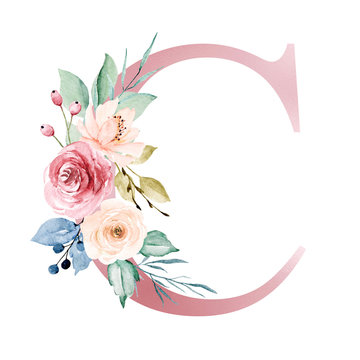 Floral alphabet, letter C with watercolor flowers and leaf. Monogram initials perfectly for wedding invitations, greeting card, logo, poster and other design. Hand painting.
