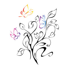 decorative twig with leaves and three butterflies on a white background
