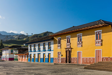 Fototapete - colorful buildings of San Felix near Salamina Caldas in Colombia South America