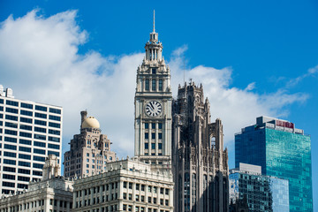 View of Chicago Famous Downtown buildings including Tribune Tower, Intercontinental Hotel, Wrigley Building. Wall mural