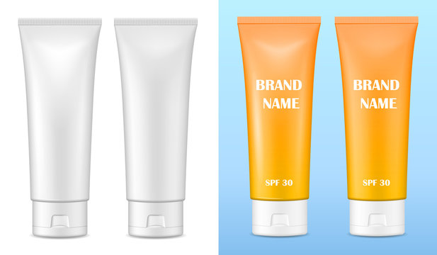 Vector realistic image (mock up, layout) of blank matte and glossy packaging for cosmetics. Layout of sunscreen cream. EPS 10.