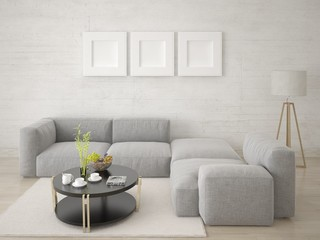 Mock up modern living room with a trendy corner sofa and light hipster backdrop.