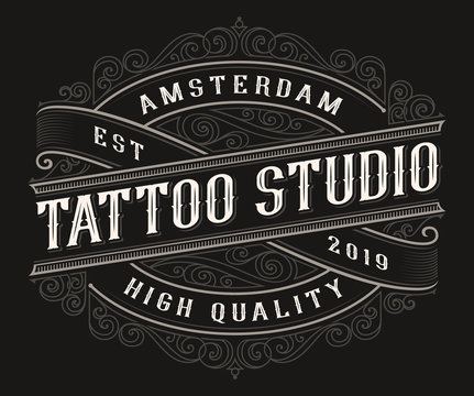 Vintage tattoo logo design