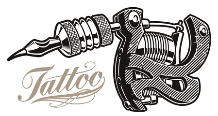.Vector illustration of a tattoo machine