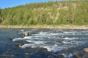 River threshold on the taiga.