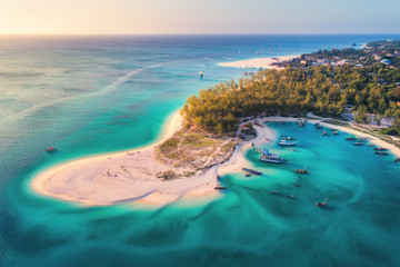 Foto op Plexiglas Zanzibar Aerial view of the fishing boats on tropical sea coast with sandy beach at sunset. Summer holiday on Indian Ocean, Zanzibar, Africa. Landscape with boat, green trees, transparent blue water. Top view