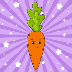 Orange carrot. Cute character. Colorful vector illustration. Cartoon style. Isolated on color background. Design element. Template for your design, books, stickers, cards, posters, clothes.