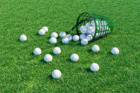 Golf balls scattered of field near basket. 3d