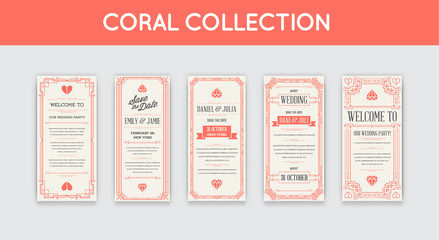 Set of Geometric Gatsby Art Deco Style Wedding Invitation Design. Coral Trendy Color.