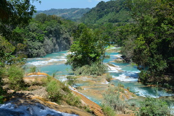 Poster Lavendel Cascade Agua Azul Chiapas Mexique - Agua Azul Waterfall Chiapas Mexico