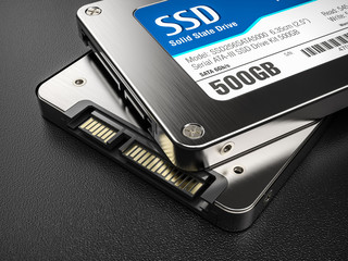 Closeup group of SSD on background 3d