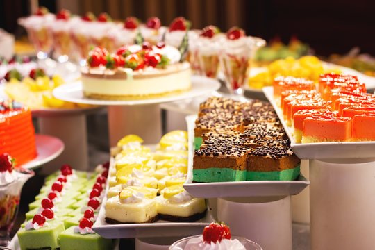 Showcase with  many cakes