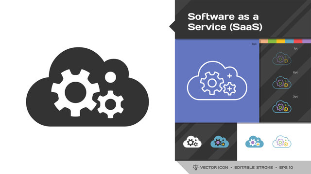 Software as a service SaaS icon black glyph silhouette and editable stroke thin outline single with cloud computing information internet technology sign.