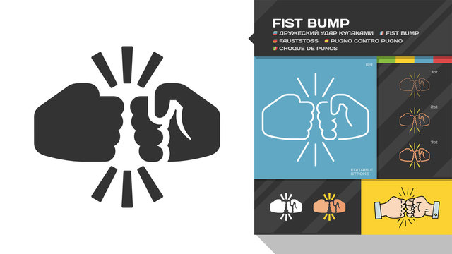 Vector fist bump flat silhouette and editable stroke icon of two fight hand or together punch for business team, partnership and dispute color sign.