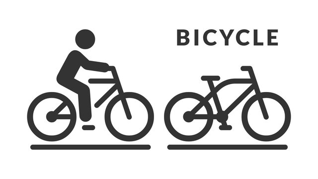 Vector isolated bicycle icon. Bike no human silhouette symbol and cycle with rider on road pictogram.