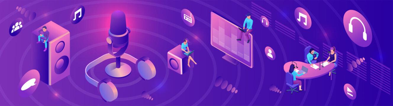 Isometric podcast horizontal banner, modern music radio show, audio blog concept, isometric 3d illustration, vector landing page template with people, microphone, glowing violet sound studio interior