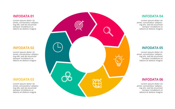 Circle elements of graph, diagram with 6 steps, options, parts or processes. Template for infographic, presentation