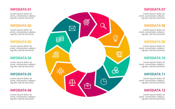 Circle elements of graph, diagram with 12 steps, options, parts or processes. Template for infographic, presentation