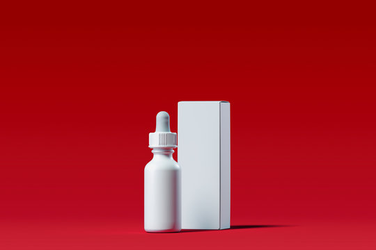 Cosmetic dropper for oil, cream, lotion. Beauty product package. 3d rendering.