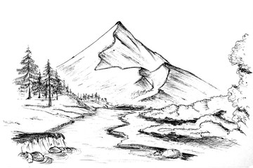 Art picture drawn mountain landscape with a river sketch black and white sketch.