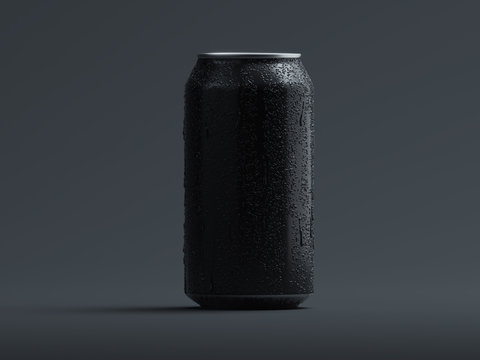 Aluminum beer or soda can with droplets isolated on grey, 3d rendering.