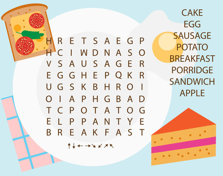 Educational game for children. Word search puzzle kids activity. Food theme learning vocabulary.