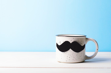 Happy Father's Day Concept, Coffee Mug with Mustache