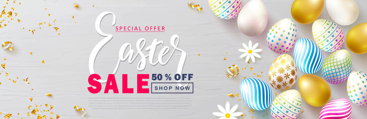 Happy Easter Sale banner.Beautiful Background with colorful eggs, chamomile and golden serpentine. Vector illustration for website , posters,ads, coupons, promotional material.