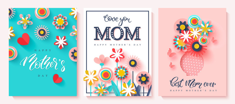 Set of greeting cards Happy Mother's day. Paper cut flowers and hand drawn lettering. Vector illustration.