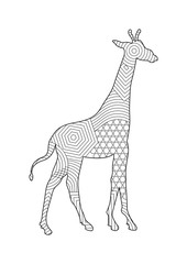 Drawing giraffe coloring pages for children and adults